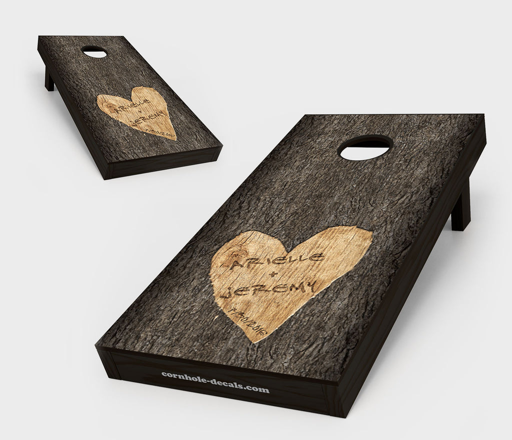 Names Carved in Tree Wedding Cornhole Board Set