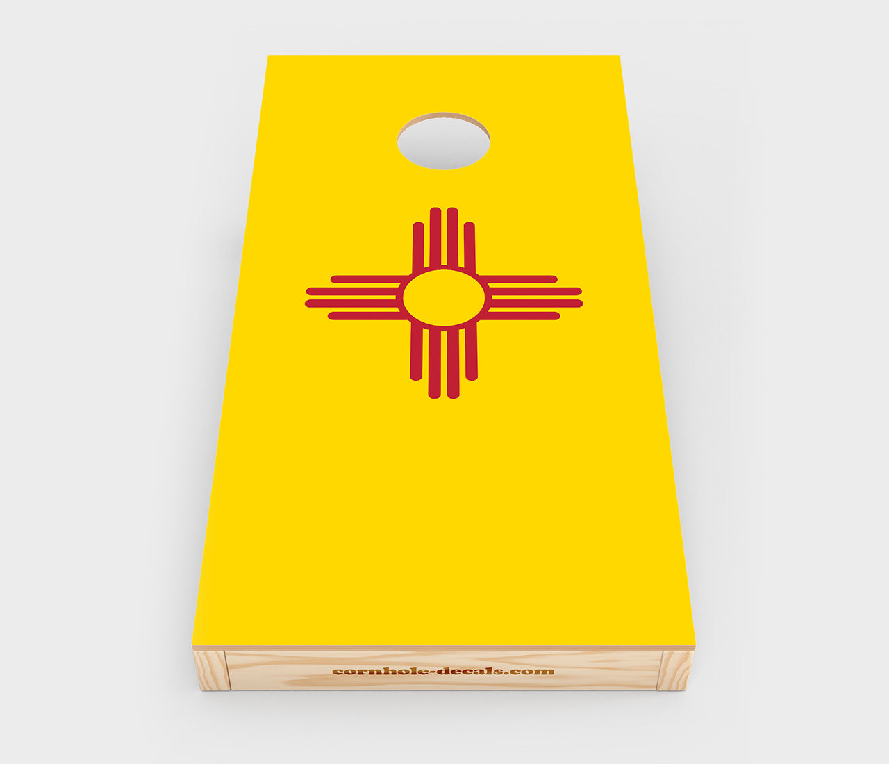 Chuggles Cornhole - New Mexico State Flag Cornhole Decal - Straight On View