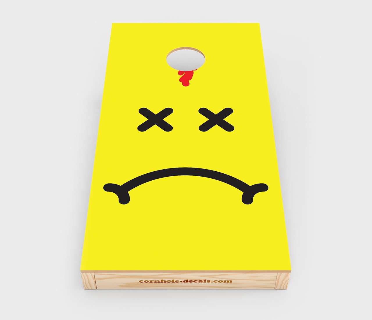 Not-So-Smiley Face Cornhole Decal