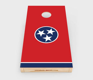 Chuggles Cornhole - Tennessee State Flag Cornhole Decal - Straight On View