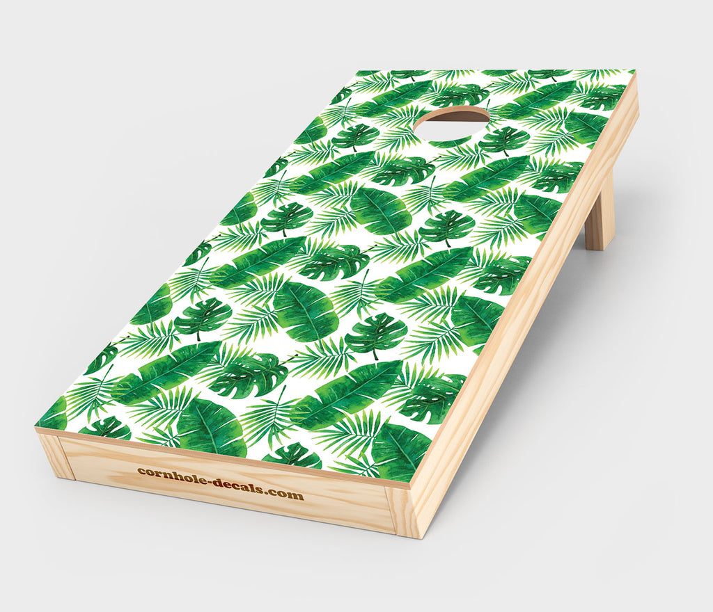 Tropical Leaves Cornhole Decals