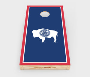 Chuggles Cornhole - Wyoming State Flag Cornhole Decal - Straight On View