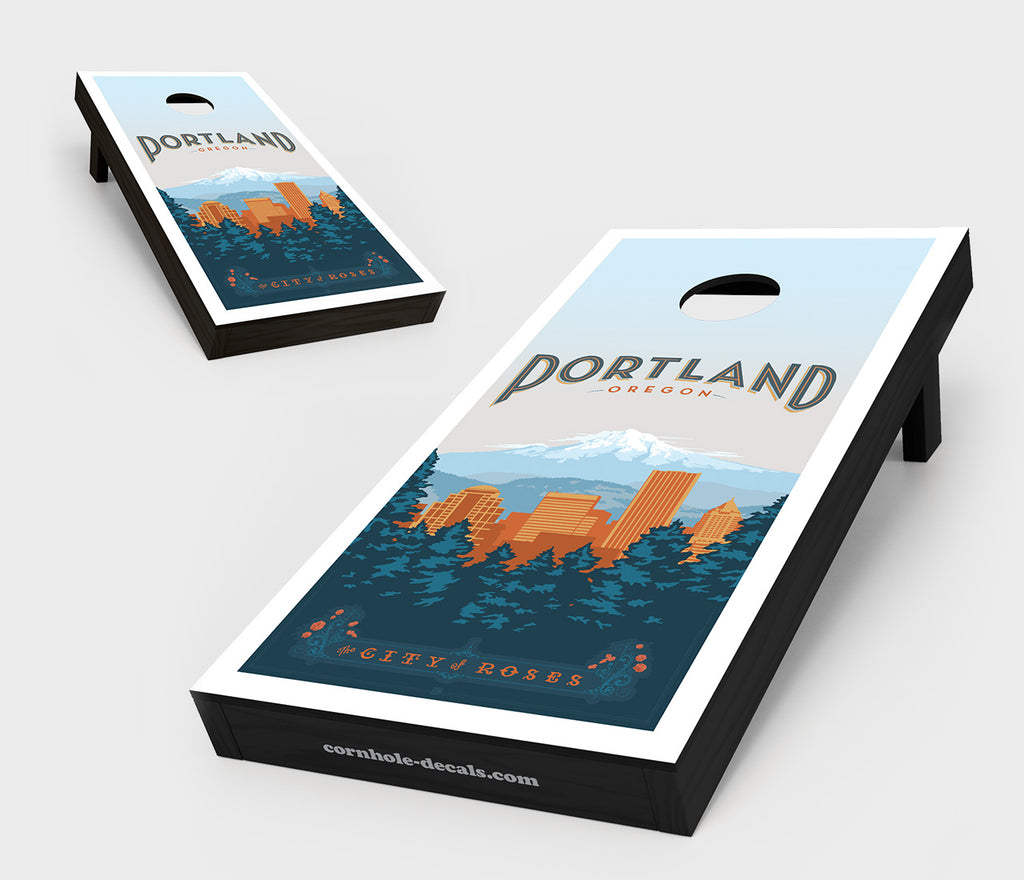 City of Roses: Portland, Oregon Cornhole Board Set