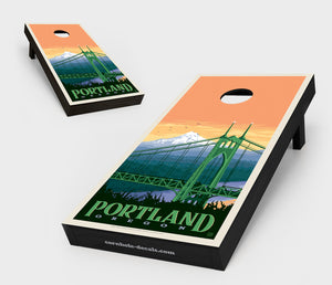 St. Johns Bridge: Portland, Oregon Cornhole Board Set