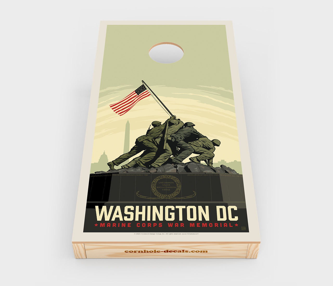 US Marine Corps War Memorial Cornhole Decal