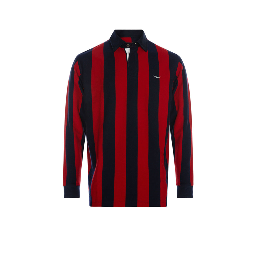 R.M. Williams Tweedale Vertical Stripe Rugby - Navy/Red