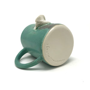 Matte Turquoise with White Chanterelle and Fern Mushroom Mug