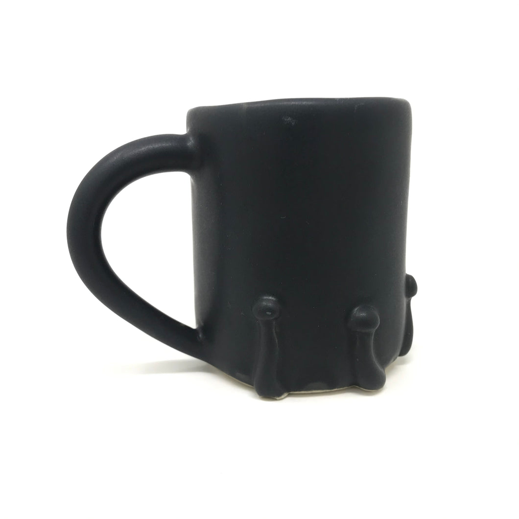 Matte Black Ring of Button Mushrooms Mug