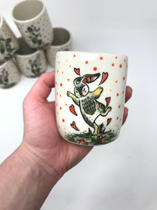 Rabbit Tumbler - Forest Green & Pinks