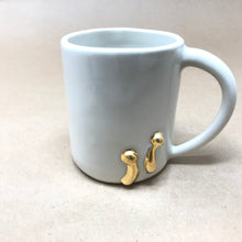 Load image into Gallery viewer, Glossy White & 22k Gold Pair of Button Mushrooms Mug