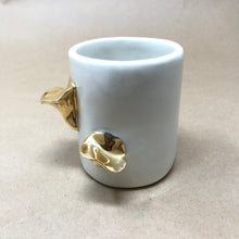 Load image into Gallery viewer, Glossy White & 22k Gold Pair of Chanterelle Mushrooms Mug