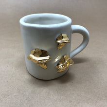 Load image into Gallery viewer, Glossy White & 22k Gold Trio of Chanterelle Mushrooms Mug