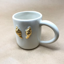 Load image into Gallery viewer, Glossy White & 22k Gold Pair of Morel Mushrooms Mug