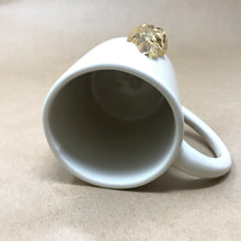 Load image into Gallery viewer, Glossy White & 22k Gold Morel Mushroom Mug