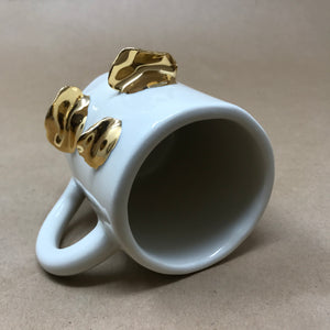 Glossy White & 22k Gold Trio of Chanterelle Mushrooms Mug