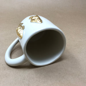 Glossy White & 22k Gold Pair of Morel Mushrooms Mug