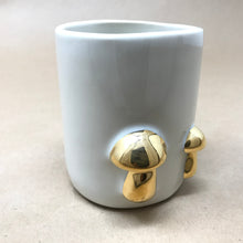 Load image into Gallery viewer, Glossy White & 22k Gold Trio of Button Mushrooms Mug