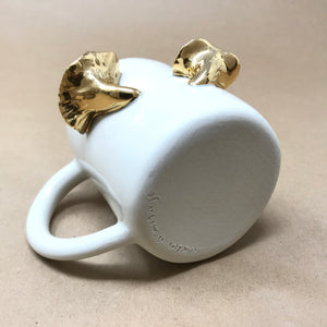 Glossy White & 22k Gold Pair of Chanterelle Mushrooms Mug
