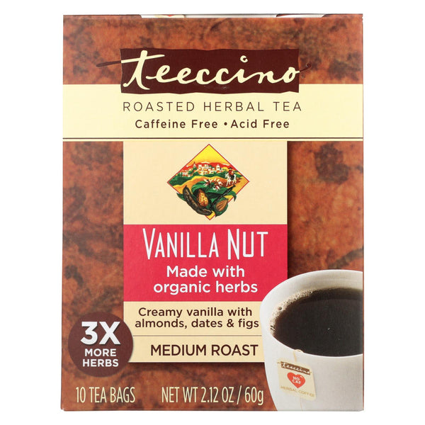 Teeccino Herbal Coffee Vanilla Nut - 10 Tea Bags - Case Of 6.