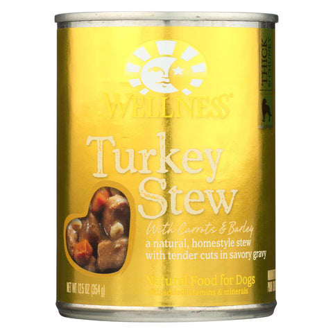 Wellness Pet Products Dog Food - Turkey With Barley And Carrots - Case Of 12 - 12.5 Oz..