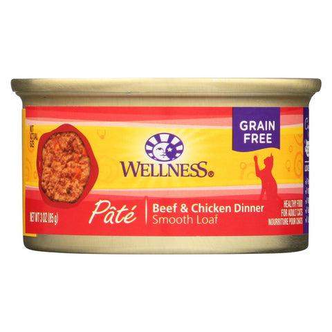 Wellness Pet Products Cat Food - Beef And Chicken - Case Of 24 - 3 Oz..