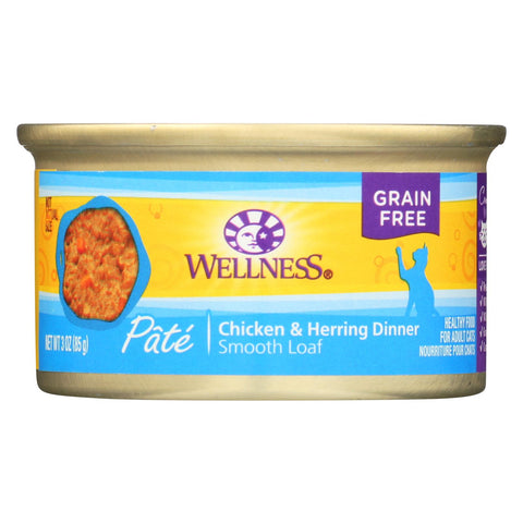 Wellness Pet Products Cat Food - Chicken And Herring - Case Of 24 - 3 Oz..
