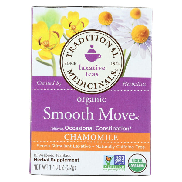 Traditional Medicinals Organic Smooth Move Chamomile Herbal Tea - 16 Tea Bags - Case Of 6.