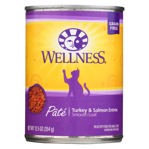 Wellness Pet Products Cat Food - Turkey And Salmon Recipe - Case Of 12 - 12.5 Oz..
