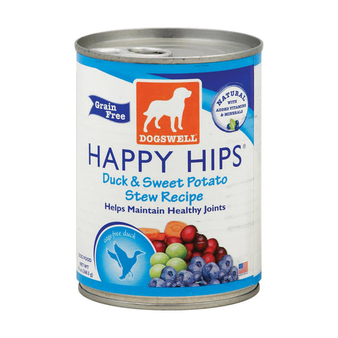 Dogs Well Happy Hips Duck And Sweet Potato Stew Dog Food - Case Of 12 - 13 Oz..