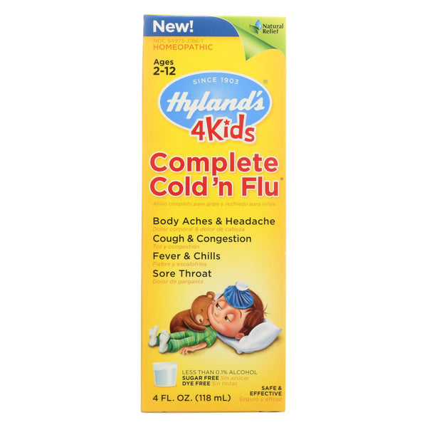 Hylands Homeopathic Cold N Flu - 4 Kids - Complete - Liquid Formula - 4 Oz.
