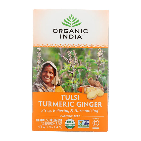 Organic India Tea - Organic - Tulsi - Turmeric Ginger - 18 Bags - Case Of 6.