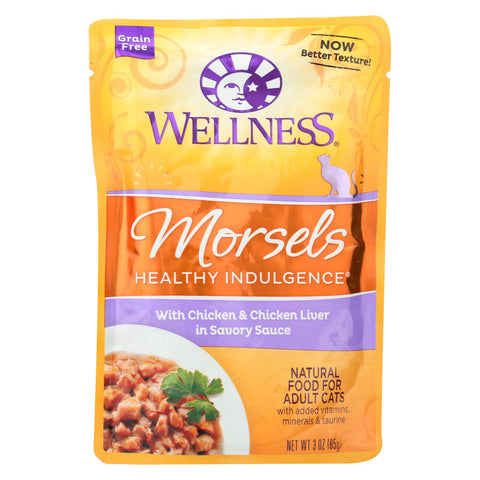 Wellness Pet Products Healthy Indulgence Morsels - Chicken And Chicken Liver In Savory Sauce - Case Of 24 - 3 Oz..