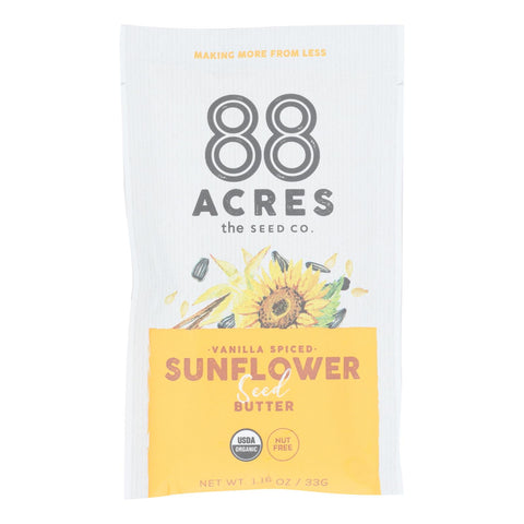 88 Acres - Seed Butter - Organic Vanilla Spice Sunflower - Case Of 10 - 1.16 Oz. - Typical corporation