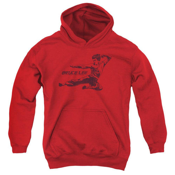 Bruce Lee/line Kick-youth Pull-over Hoodie - Red.