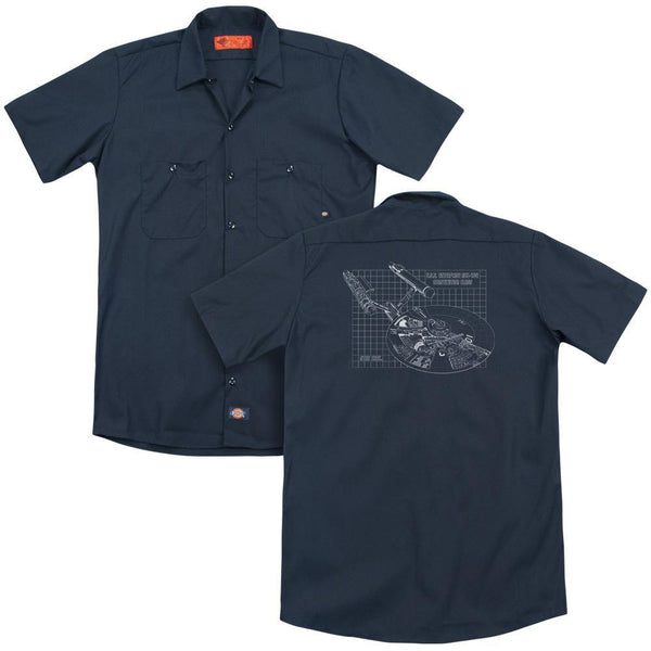Star Trek/enterprise Prints(back Print) - Adult Work Shirt - Navy.