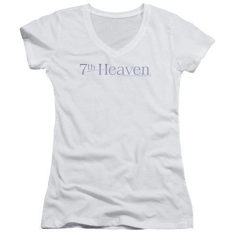 7th Heaven/7th Heaven Logo - Junior V-neck - White - Typical corporation