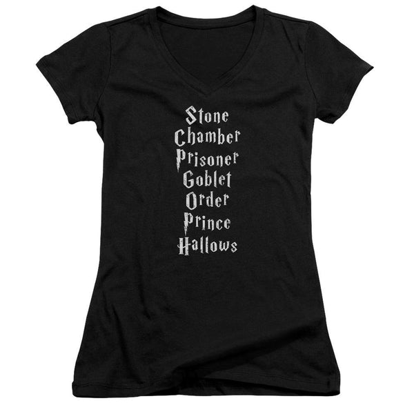 Harry Potter/titles-junior V-neck-black.