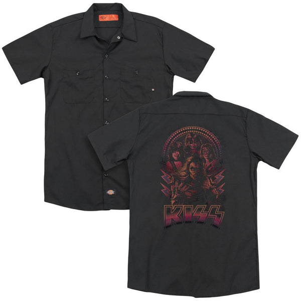 Kiss/comic Style(back Print) - Adult Work Shirt - Black.