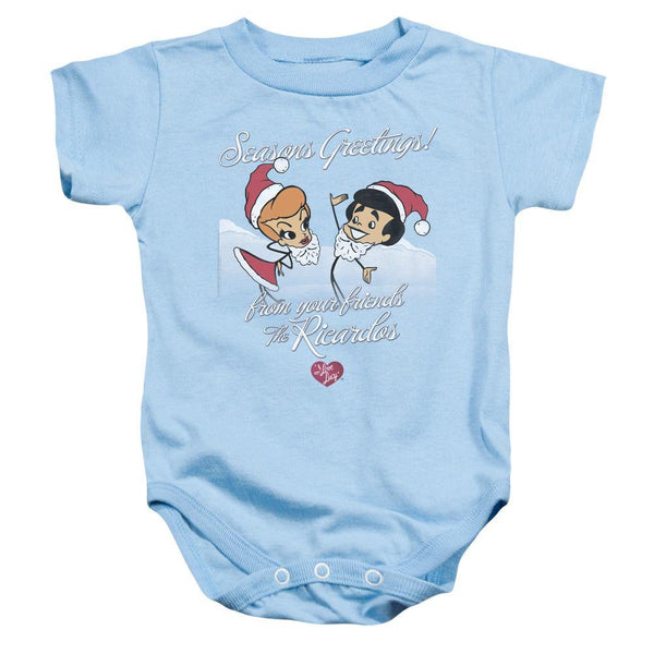 I Love Lucy/animated Christmas-infant Snapsuit-light Blue.
