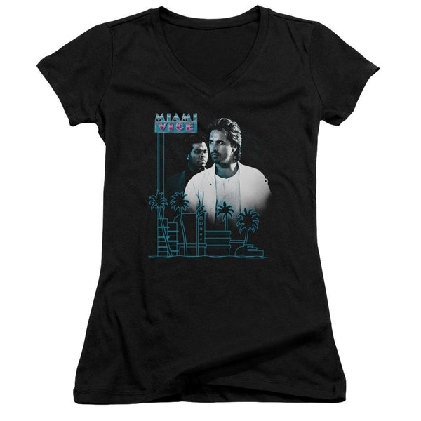 Miami Vice/looking Out - Junior V-neck - Black.
