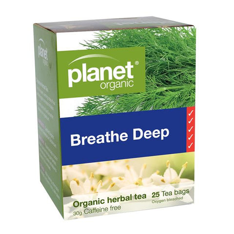 Planet Organic Breathe Deep Organic Herbal 25 Tea  Bags