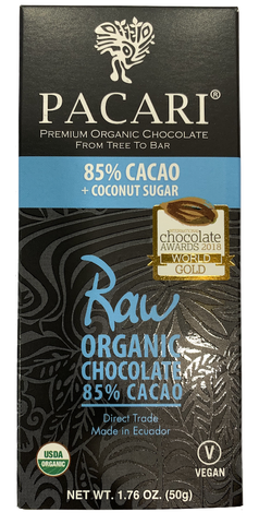 Pacari Raw 85% Cacao + Coconut sugar Chocolate Bar 50g