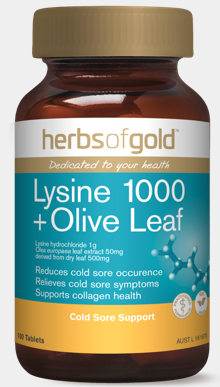 Herbs of Gold Lysine 1000 With Olive Leaf 100T