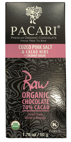 Pacari Raw Cuzco Pink Salt & Cacao Nibs Chocolate Bar 50g