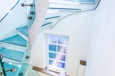 Walk on glass stair treads laminated