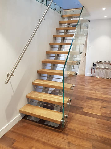 Toughened laminated staircase glass balustrades