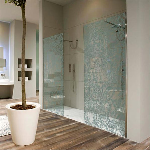 Printed pattern glass shower screens