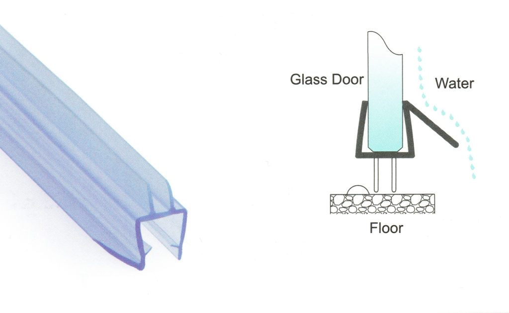 1,000mm Translucent Glass to Floor Seals for 10mm Glass