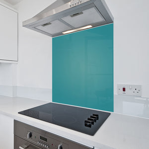 6mm Toughened Painted Kitchen Glass Splashback - Teal