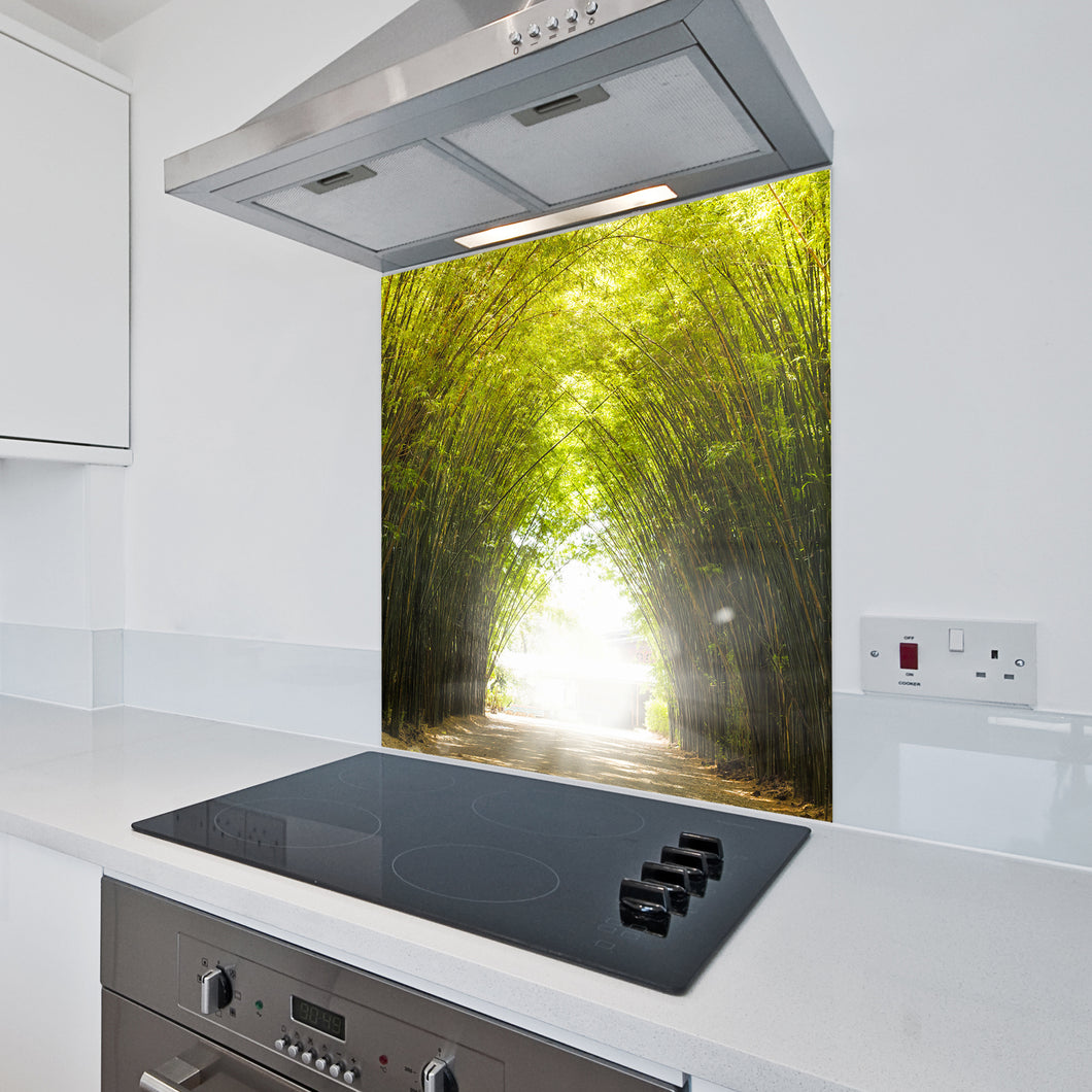 6mm Toughened Printed Kitchen Glass Splashback - Bamboo Tunnel